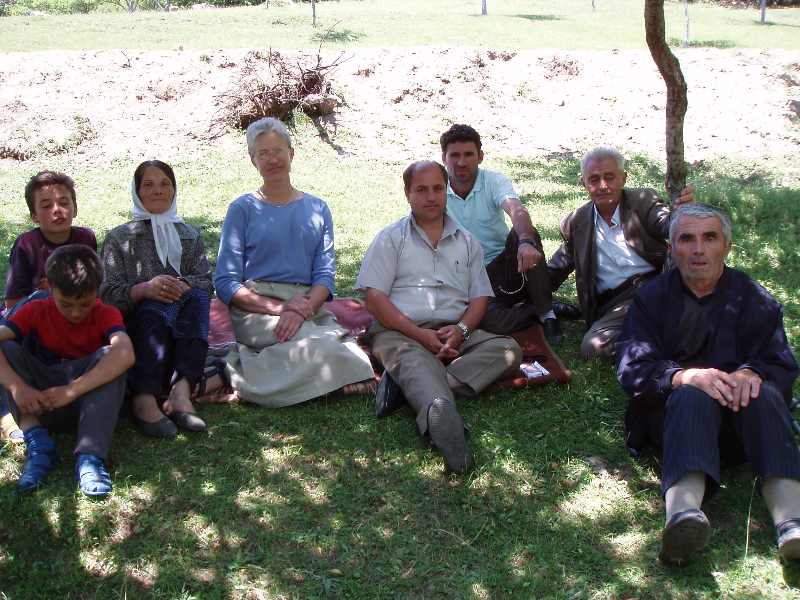 Author visiting family with land mine victim Hysni Hoti in border town of Zulfaj.
