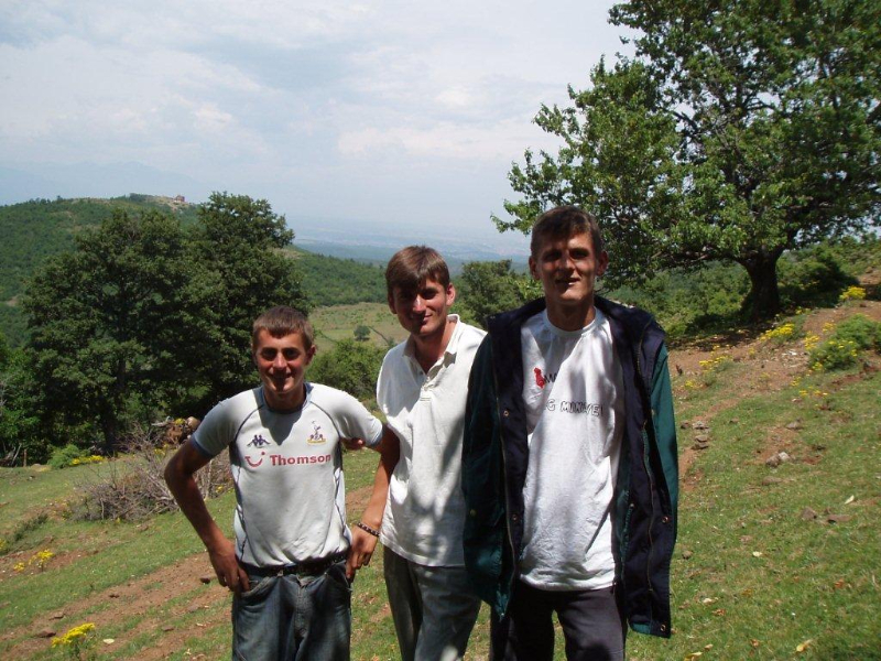 Visiting farm in border town of Dobrunë. Korab Mula, on the right, lost an arm to a land mine.
