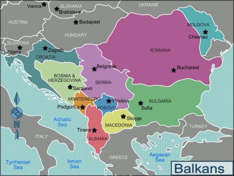 Map of the Balkans Region.