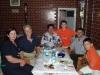 Author enjoying celebratory dinner at Hotel Amerika with Jonuz Kola of VMA (now Alb-Aid)  and his wife Violeta and sons Visar and Armand.