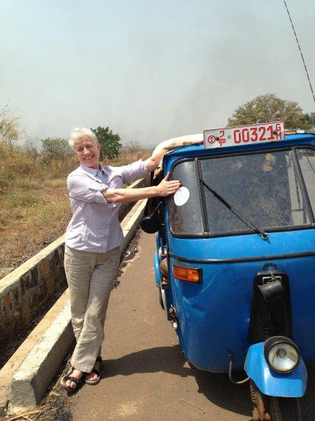 Deborah appreciating the noble tuktuk.