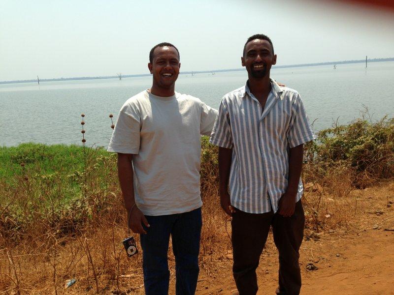 Yidne & friend at lake behind dam near Abobo.