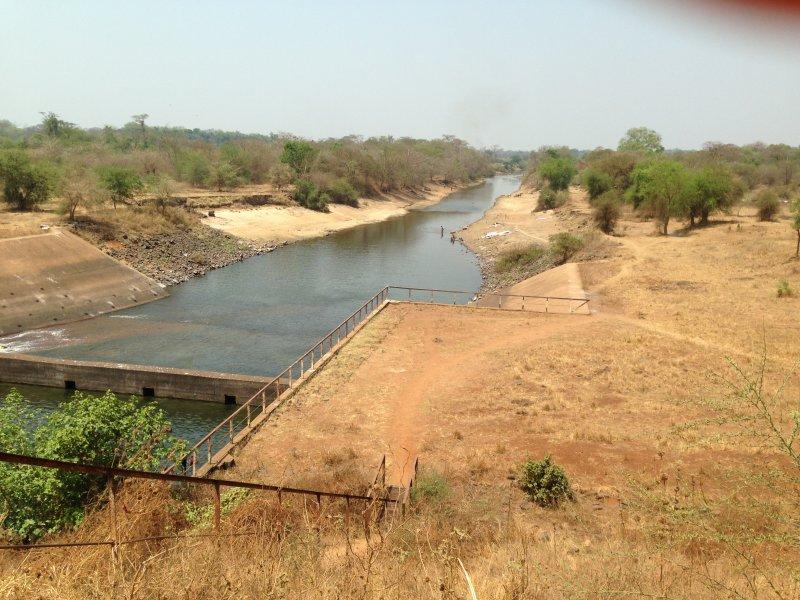 Changed river below dam near Abobo.