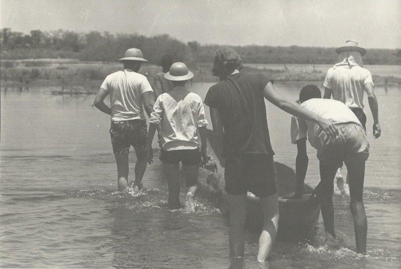 Launching canoe (photo Steven Schewe).