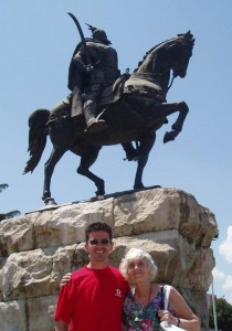 Skanderbeg's statue in Tiranë with Deborah's friends Vildan Plepi and Antonia Young