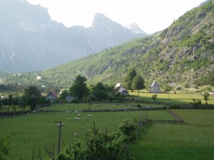 The traditional mountain village of Theth in its valley