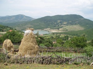 Haystacks in Dobrune Albania, near the Kosovo border