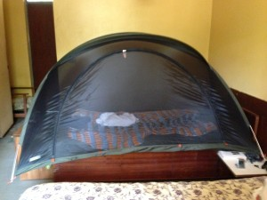 REI mosquito tent, more practical than hotel's ceiling swag